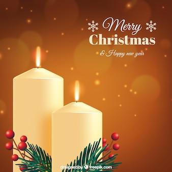 Golden elegant background of christmas candles