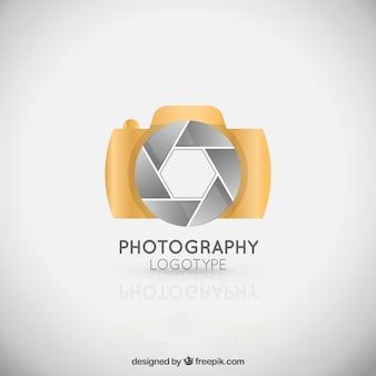 Golden elegant camera logo
