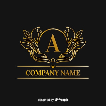 Golden elegant capital letter logo template