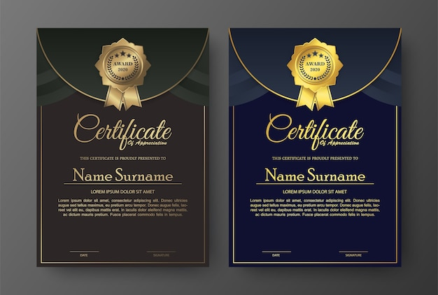 Golden elegant certificate template design.