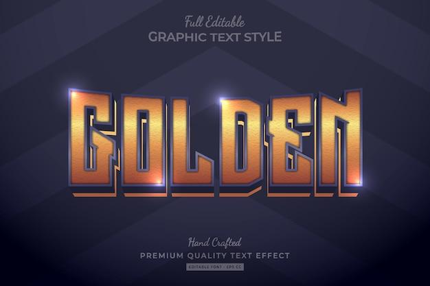 Golden elegant editable premium text effect font style
