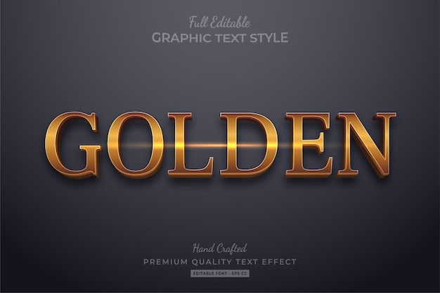 Golden elegant editable text effect font style