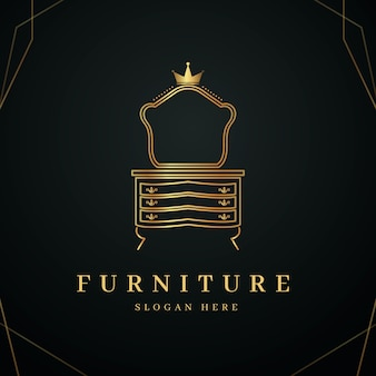 Golden elegant furniture logo