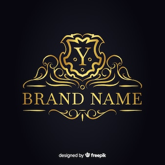 Golden elegant logo template for companies