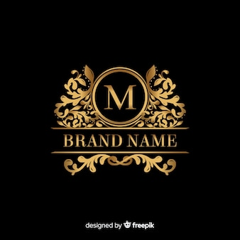 Golden elegant logo template with ornaments