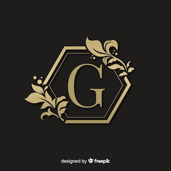 Golden elegant logo with frame