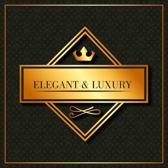 Golden elegant and luxury banner crown emblem