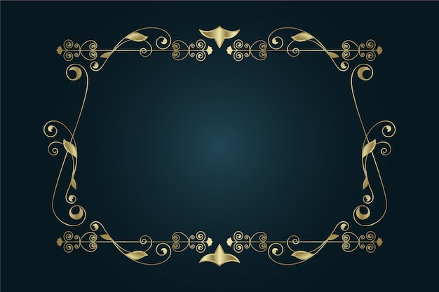 Золотая элегантная рамка-орнамент