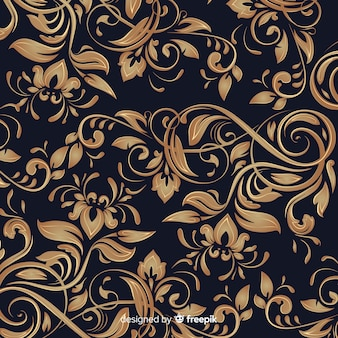 Golden elegant ornamental floral background