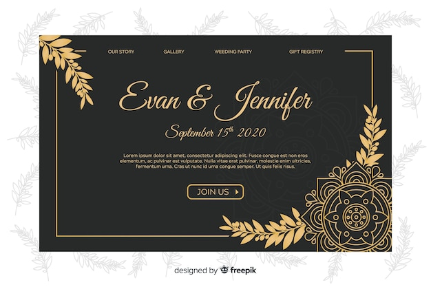 Golden elegant wedding landing page template