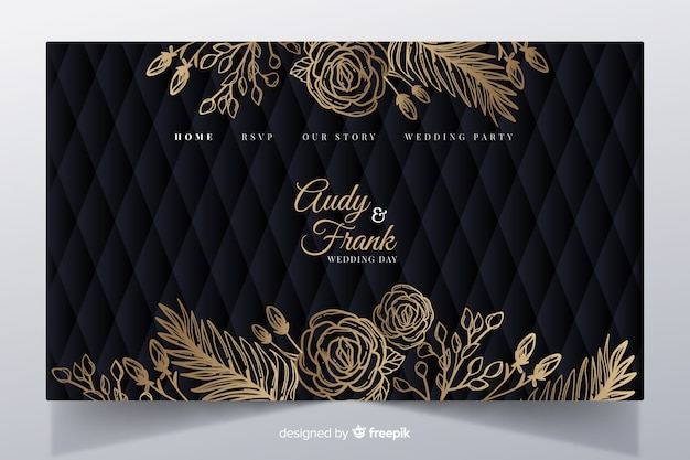 Golden elegant wedding landing page template
