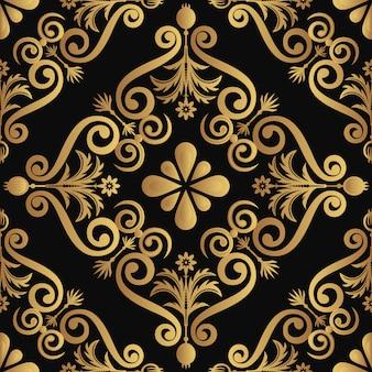 Golden elements on black background