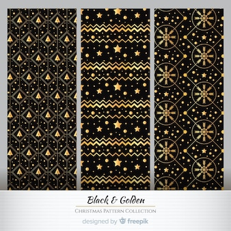 Golden elements christmas pattern