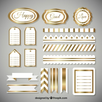 Golden elements of scrapbooking