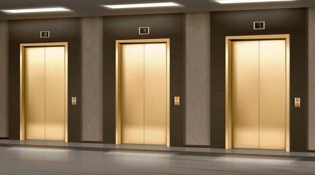 Golden elevator with closed doors in hallway