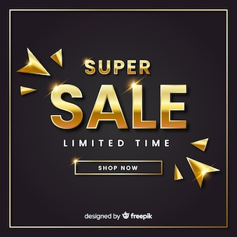 Golden elgant sales banner template