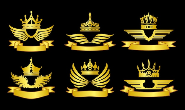 Golden emblem set with crowns and ribbons vector