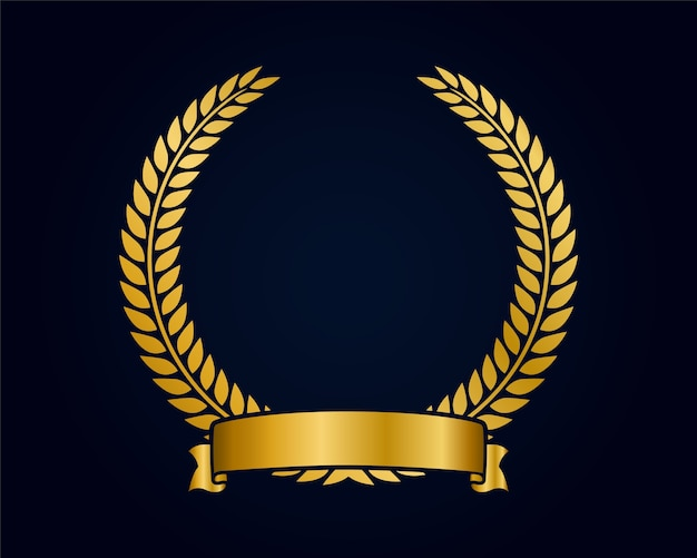 ロゴのゴールデンエンブレムテンプレート。金の枝とリボン。クラウンアワード。