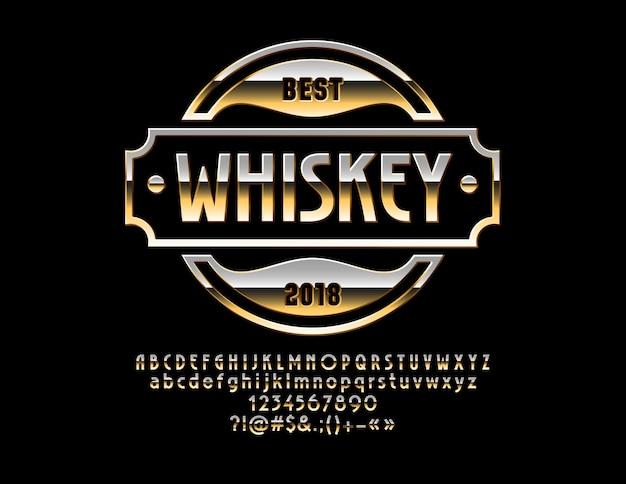 Роскошный глянцевый шрифт golden emblem whisky