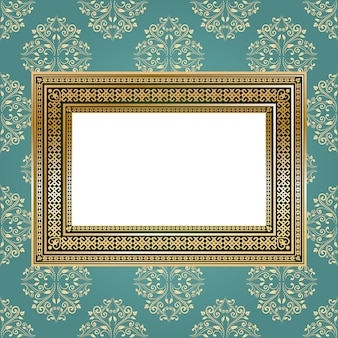 Golden empty frame on the wall for your art, text or photo. vintage background.