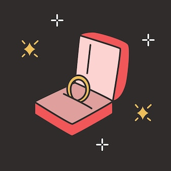 Golden engagement ring in open box on black background. elegant jewelry or beautiful accessory for marriage proposal and wedding ceremony. expensive luxury romantic gift. colorful vector illustration.