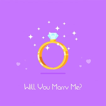 Golden engagement ring with diamond. wedding proposal and love concept. flat style vector illustration.