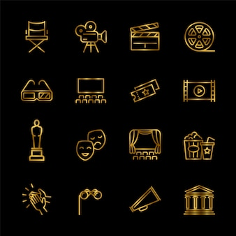 Golden entertainment and performance line vector icons