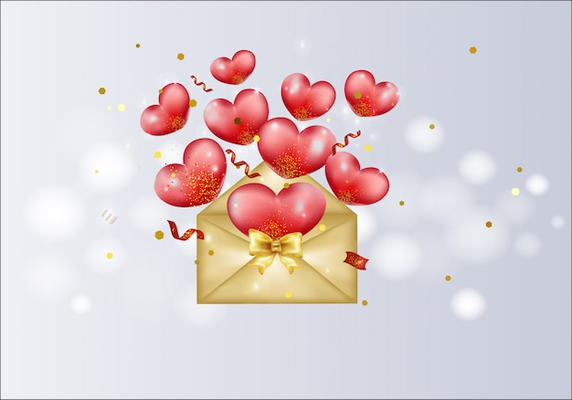 Golden envelope with red hearts, confetti, lights, sparkles. love valentines greeting card.