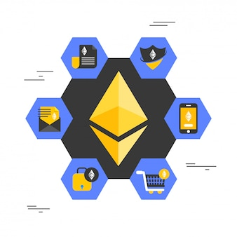 Golden ethereum coin with multiple usages