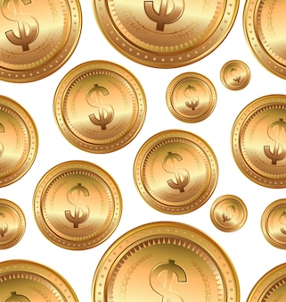 Golden euro coin, seamless background