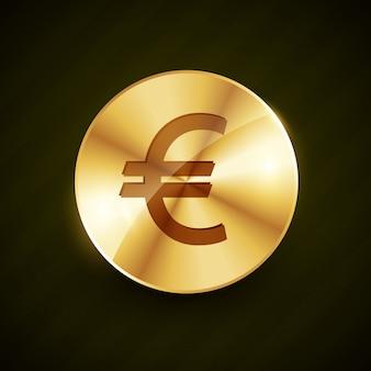 Golden euro symbol coin shiny