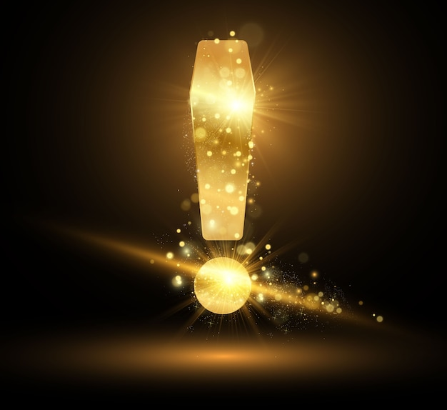 Золотой восклицательный знак с блестящей пылью