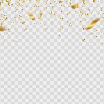 Золотой падающий блеск серпантин