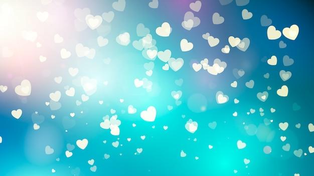 Золотые падающие сердца в голубом небе. день святого валентина абстрактный фон с сердечками. иллюстрация