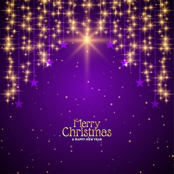 Golden falling stars merry christmas violet background