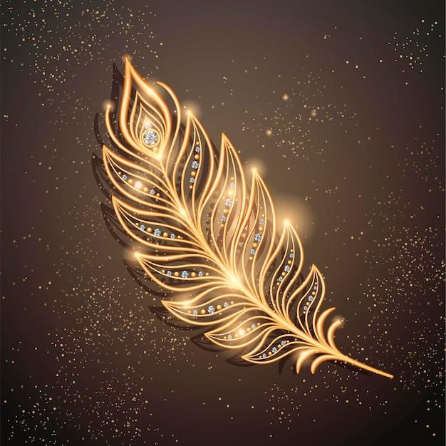 Украшение броши золотое перо с бриллиантами на сверкающем коричневом в 3d стиле