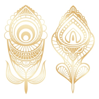 Golden feathers indian style isolated