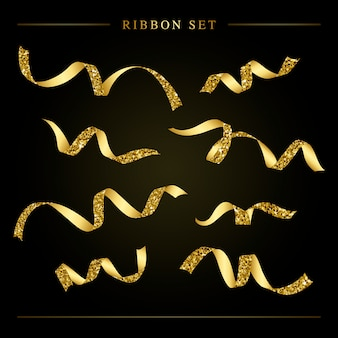 Golden festive ribbon set vector