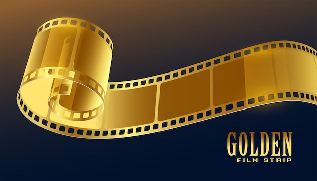 Golden film reel strip in 3d style
