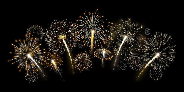 Golden fireworks arc illustration