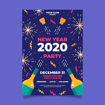 Golden fireworks and champagne happy new year 2020 flyer