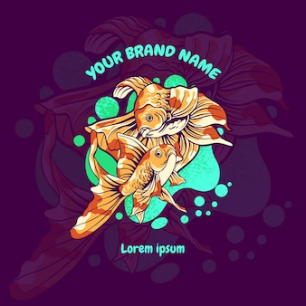 Золотая рыбка киберспорт талисман логотип иллюстрации