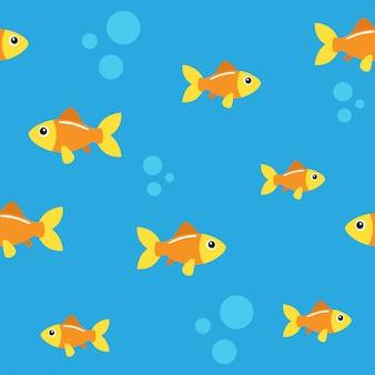 Golden fish seamless pattern