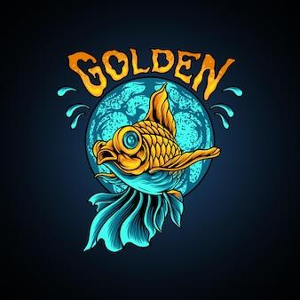 Golden fish silhouette