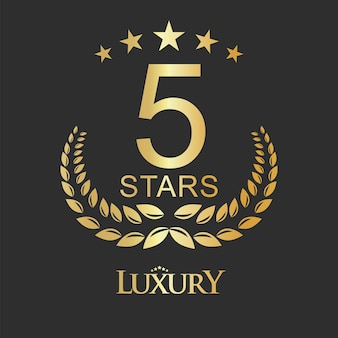 Golden five stars label luxury design for hotel hostel and apartment