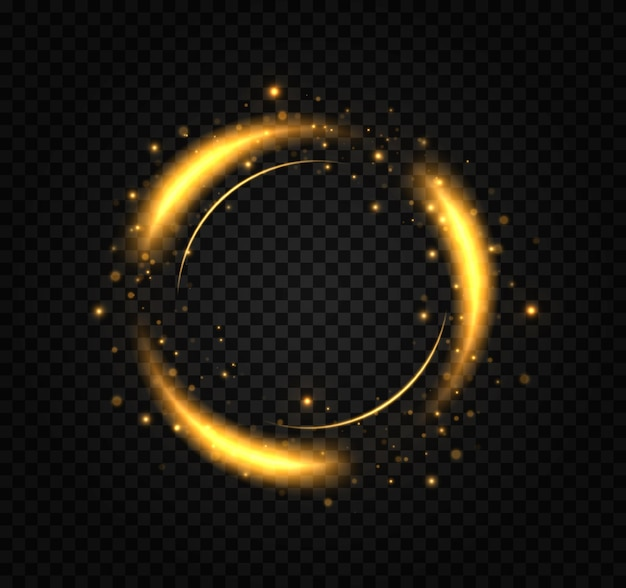 A golden flash flies in a circle in a luminous ring