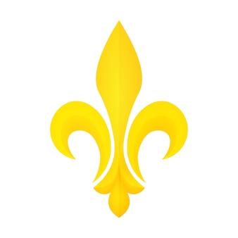 Golden fleur-de-lis symbol. mardi gras or fat tuesday icon. heraldic element.