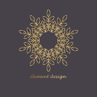 Золотой цветочный и орнаментальный логотип