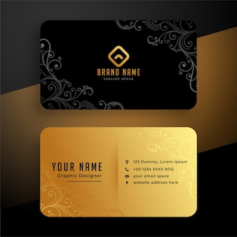 Golden floral business card template design