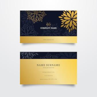 Golden floral business card template
